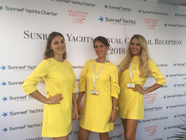 Exhibition Girls working at Cannes Yacht Festival