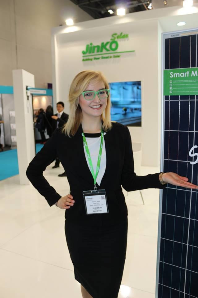 Exhibition Girl Working With Jinko Solar at Ecobuild 2016 Excel London