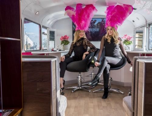 Promotional Models for Superdrug Big Pink Bus at Alexandra Palace, London